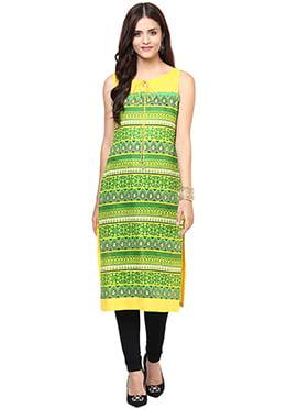 Shakumbhari Yellow N Green Kurti