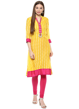 Shakumbhari Yellow Straight Kurti