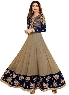 Shilpa Shetty Beige N Blue Anarkali Suit
