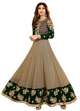 Shilpa Shetty Beige N Green Anarkali Suit