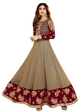 Shilpa Shetty Beige N Magenta Anarkali Suit