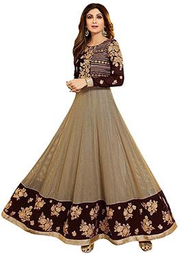 Shilpa Shetty Beige N Maroon Anarkali Suit