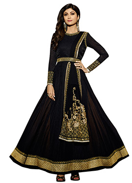 Shilpa Shetty Black Anarkali Suit