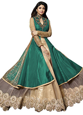 Shilpa Shetty Green Layered Anarkali
