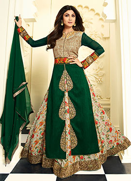 Shilpa Shetty Green N Beige Long Choli Lehenga