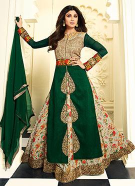 Shilpa Shetty Green N Beige Long Choli Lehenga