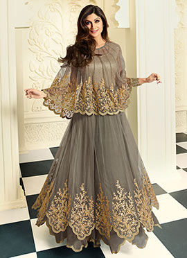 Shilpa Shetty Grey Anarkali Suit