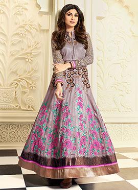 Shilpa Shetty Lavender Anarkali Suit