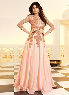 Shilpa Shetty Peach Anarkali Suit