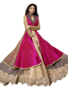 Shilpa Shetty Pink Layered Anarkali