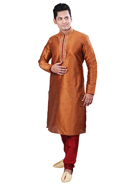 Shimmer Rust Dupion Silk Kurta Pyjama