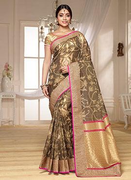 Shriya Saran Brown Benarasi Kora Silk Saree