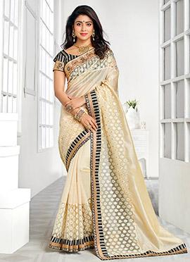 Shriya Saran Cream Silk Cotton Saree