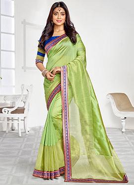 Shriya Saran Green Shade Saree
