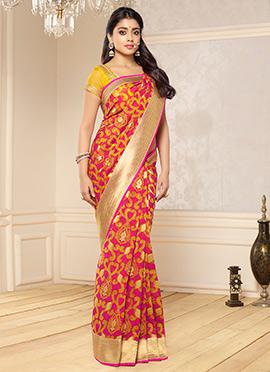Shriya Saran Pink Benarasi Kora Silk Saree
