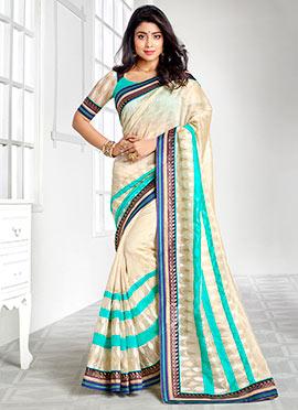 Shriya Saran Silk Cotton Cream Saree