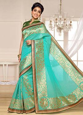 Shriya Saran Teal Blue Benarasi Kora Silk Saree