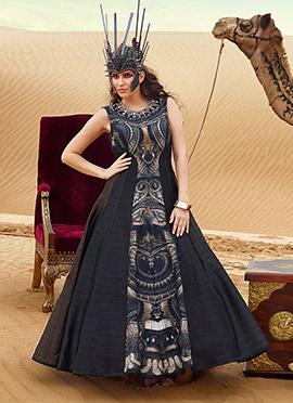 Silk Black Printed Floor Length Anarkali Suit