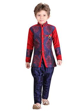 Silk Blend Boys Indowestern Sherwani