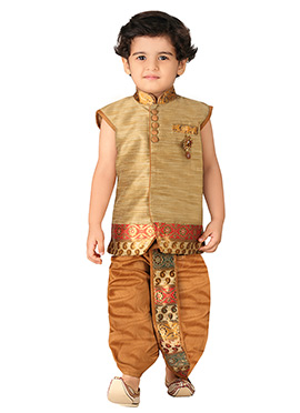 Silk Blend Golden Beige Boys Sherwani