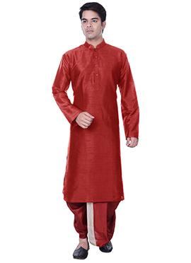 Silk Blend Red Dhoti Style Kurta Pyjama