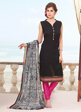 Silk Cotton Black Churidar Suit