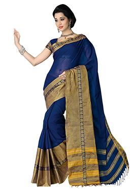 Silk Cotton Blue Saree