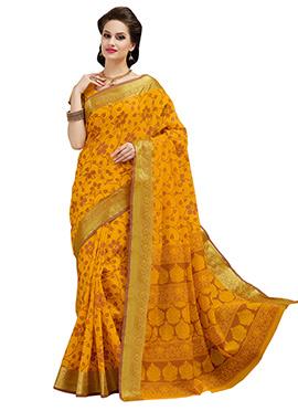 Silk Cotton Mustard Yellow Printed Saree