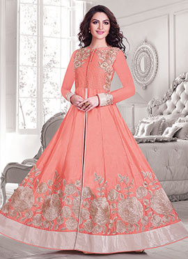 Silk Cotton Peach Anarkali Suit