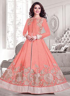 Silk Cotton Peach Anarkali Suit