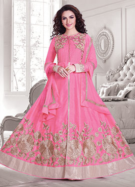 Silk Cotton Pink Anarkali Suit