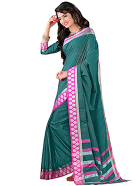 Silk Cotton Teal Green Saree