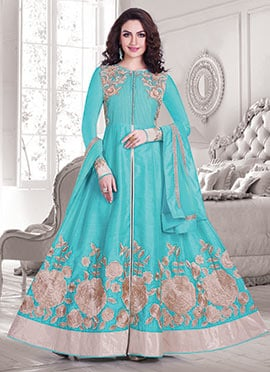 Silk Cotton Turquoise Green Anarkali Suit