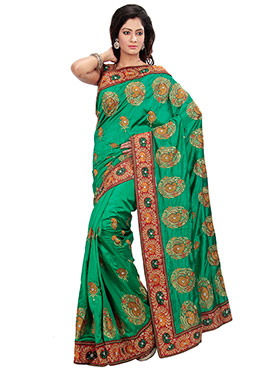Silk Green Embroidered Foliage Patterned Saree