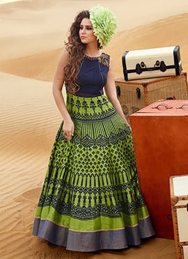 Silk Green N Navy Blue Ankle Length Anarkali