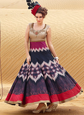 Silk Multicolored Ankle Length Anarkali Suit