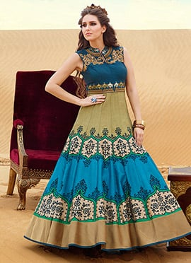 Silk Yale Blue N Beige Ankle Length Anarkali Suit