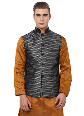 Silver Blended Cotton Nehru Jacket From Home India