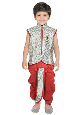 Silver Colored Kids Dhoti Kurta Set