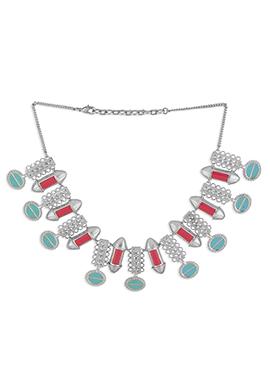 Silver Colored Meenakari Necklace
