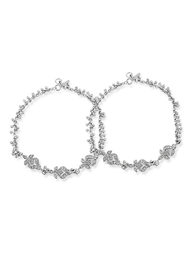 Silver Colored Stone Ornate Anklet