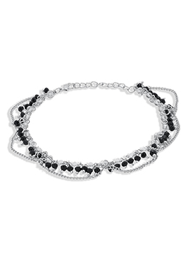 Silver N Black Chain Anklet