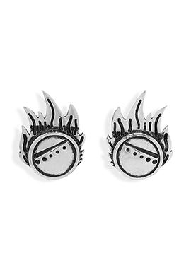 Silver N Black Colored Designed Studs