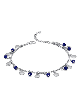 Silver N Blue Beads Anklet