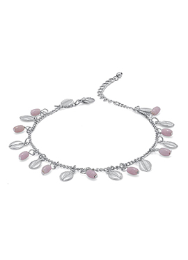 Silver N Light Pink Beads Anklet