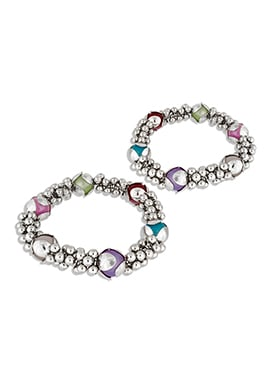 Silver N Multicolor Beads Anklets