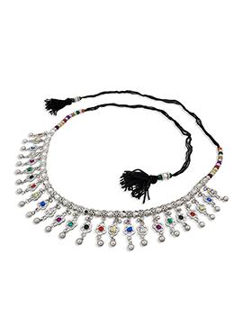 Silver N Multicolor Stones Saree Belt
