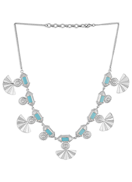Silver N Turquoise Colroed Necklace