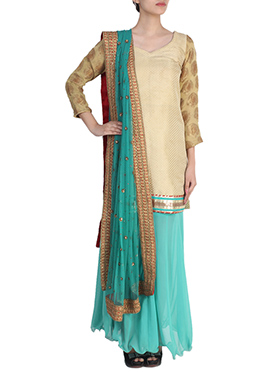Siya Beige N Turquoise Sharara Suit