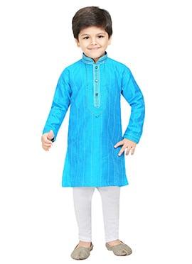 Sky Blue Blended Cotton Kids Kurta Pyjama
